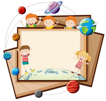 picture frame: Paper design with children and planets illustration
