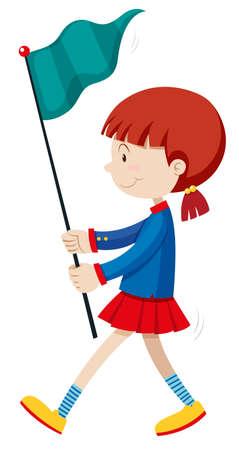 parades: Little girl holding blue flag illustration Illustration