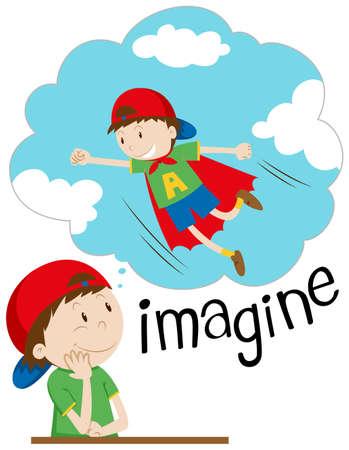 imagining: Boy imagining being superhero illustration