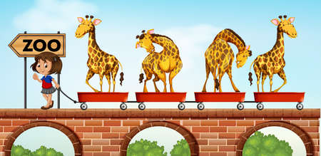 bridge in nature: Little girl pulling carts with giraffe to the zoo illustration