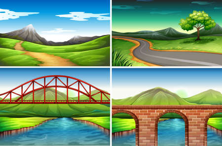 rural scene: Four scenes of road  to the countryside illustration Illustration