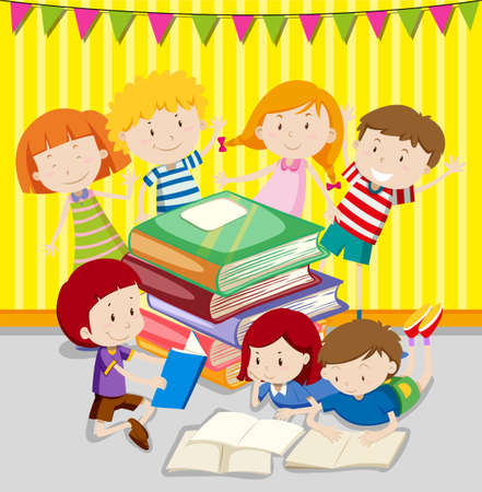 reading books: Children reading books together illustration