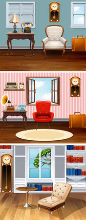 drawing room: Four scenes of rooms in the house illustration