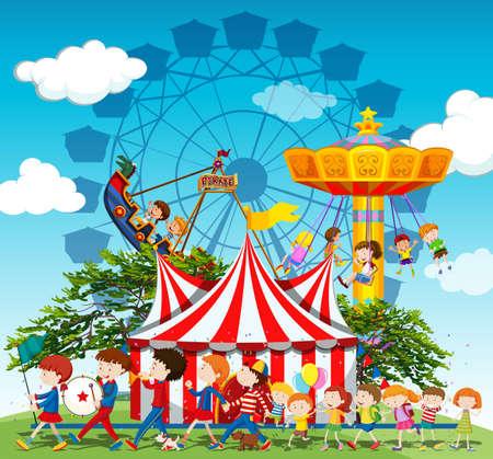 Banda marchando en desfile en la ilustración de circo