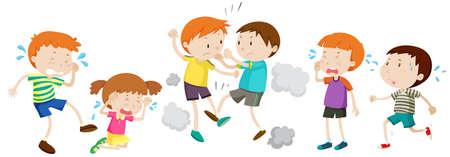 Unhappy boy crying and fighting illustration Vektorové ilustrace