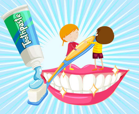 kids background: Boy and girl brushing teeth illustration
