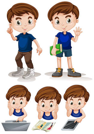 small group of objects: Little boy doing different activities illustration Illustration