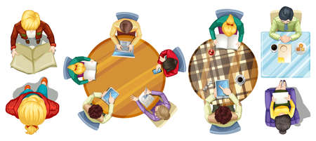 grownup: Top view of people doing different activities illustration Illustration