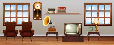 Woonkamer vol met vintage meubels illustratie