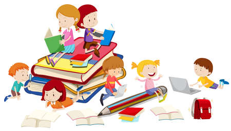 reading and writing: Children reading books together illustration