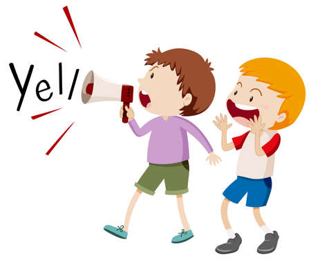 speaker: Two boys with the speaker yelling illustration