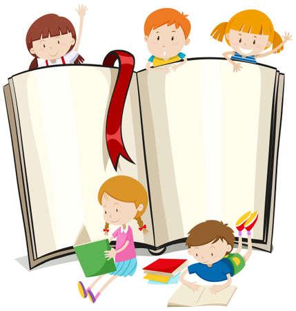 kid book: Book design with children reading books illustration