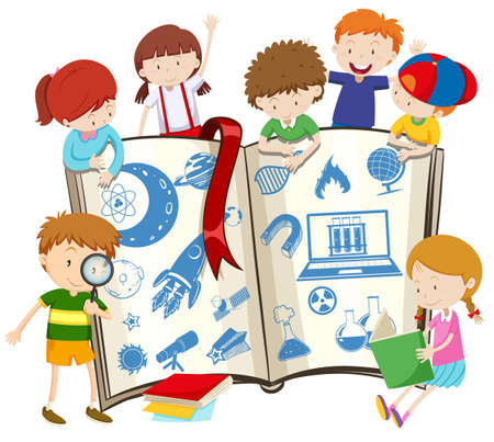Science book and children illustration Vectores