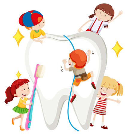 tooth cleaning: Boys and girls cleaning tooth illustration