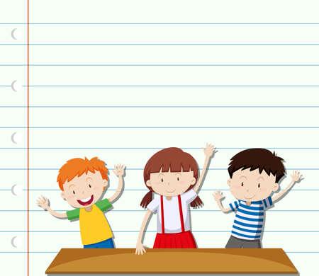three children: Paper design with three children  illustration Illustration