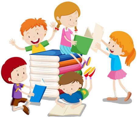 Boys and girls reading books illustration Stok Fotoğraf - 51552067