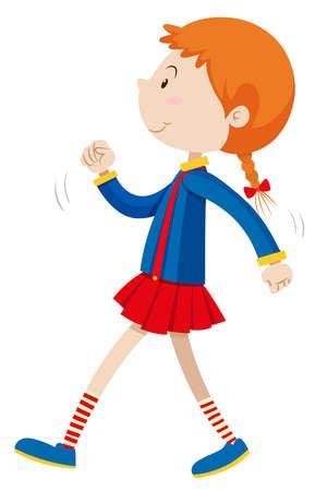 Kleines Mädchen allein zu Fuß Illustration