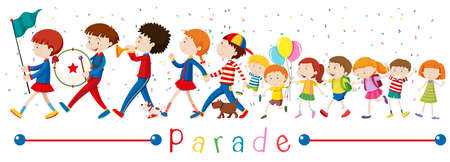 small group of objects: Children and the band in the parade illustration