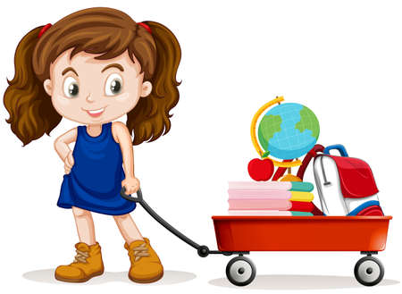 Little girl pulling wagon full of school objects illustration Çizim