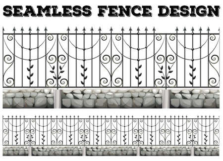 metal drawing: Seamless fence design with metal fence illustration