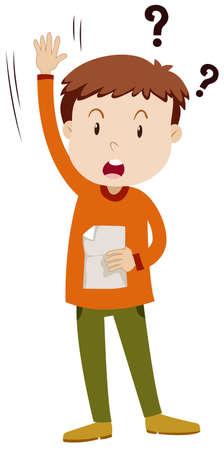 Little boy asking question illustration