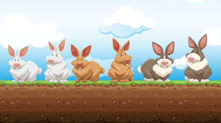 ground: Easter rabbits standing on the ground illustration Illustration