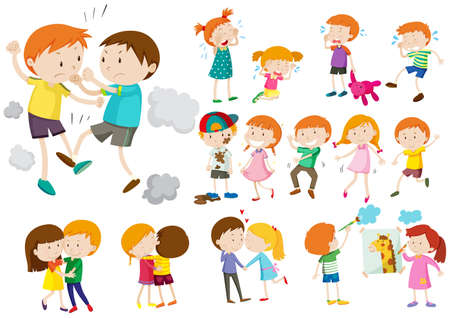 Boys and girls in different actions illustration