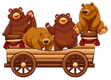 carreta madera: Cuatro osos de pie en la ilustración de carro de madera