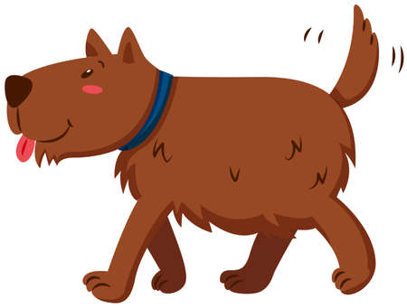 tail: Brown dog wagging its tail illustration Illustration