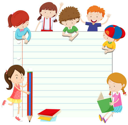 girl studying: Line paper design with boys and girls illustration Illustration