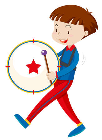 Boy in band outfit playing drum illustration