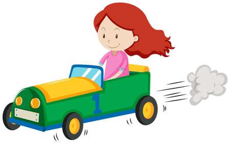 Meisje racen een auto illustratie