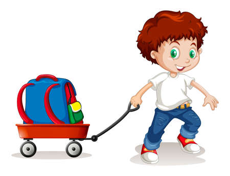 schoolbag: Little boy pulling cart with backpack on it illustration