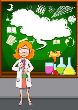 grownup: Science teacher in front of the classroom illustration