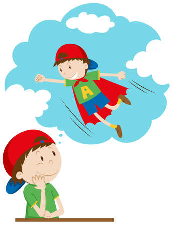 daydreaming: Boy daydreaming of being superhero illustration Illustration