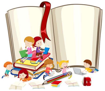I bambini la lettura di libri insieme illustrazione Vettoriali