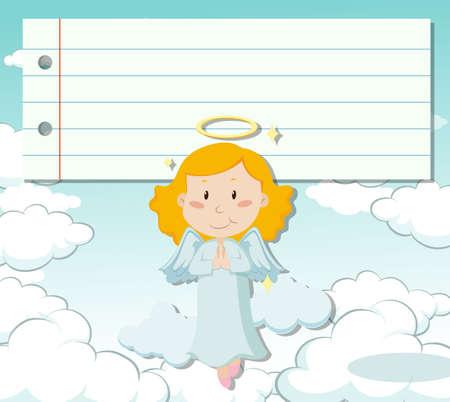 angel flying: Line paper design with angel flying illustration