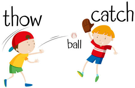 throwing: Boys throwing and catching ball illustration