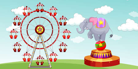 amusement park rides: Elephant show and ferris wheel at the funpark illustration Illustration
