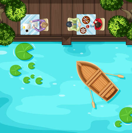 river boat: Top view of people sitting on the terrace by the river illustration Illustration