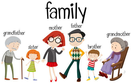 Family members with three generations illustration