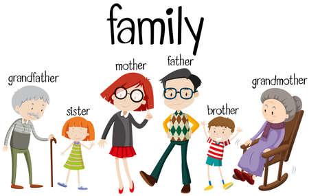 세 세대 일러스트와 함께 가족 일러스트