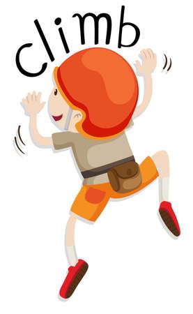 niño escalando: Muchacho con el casco subiendo por la pared de la ilustración
