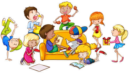 small group of objects: Children having fun in the room illustration