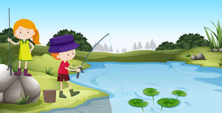 children pond: Boy and girl fishing at the river illustration Illustration