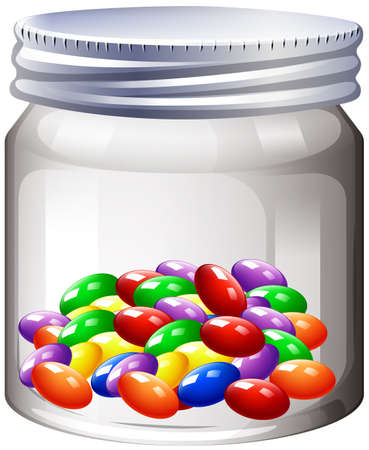 glass jars: Jar of colorful candy illustration