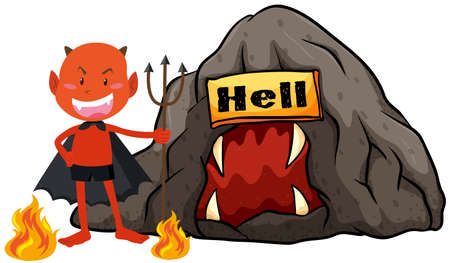 hell: Devil with trident in hell illustration