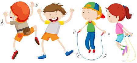 Quatre enfants font des activités illustration Vecteurs