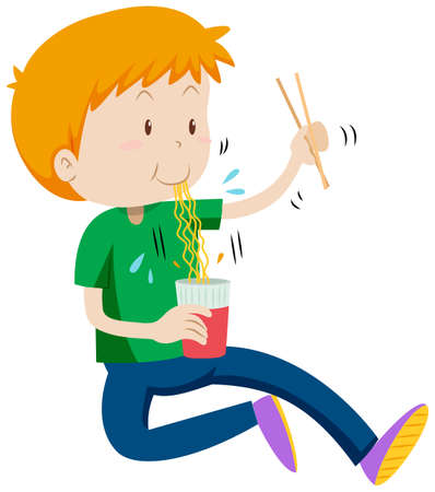 Boy eating instant noodles from cup illustration