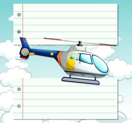 the hovercraft: Line paper design with helicopter flying illustration